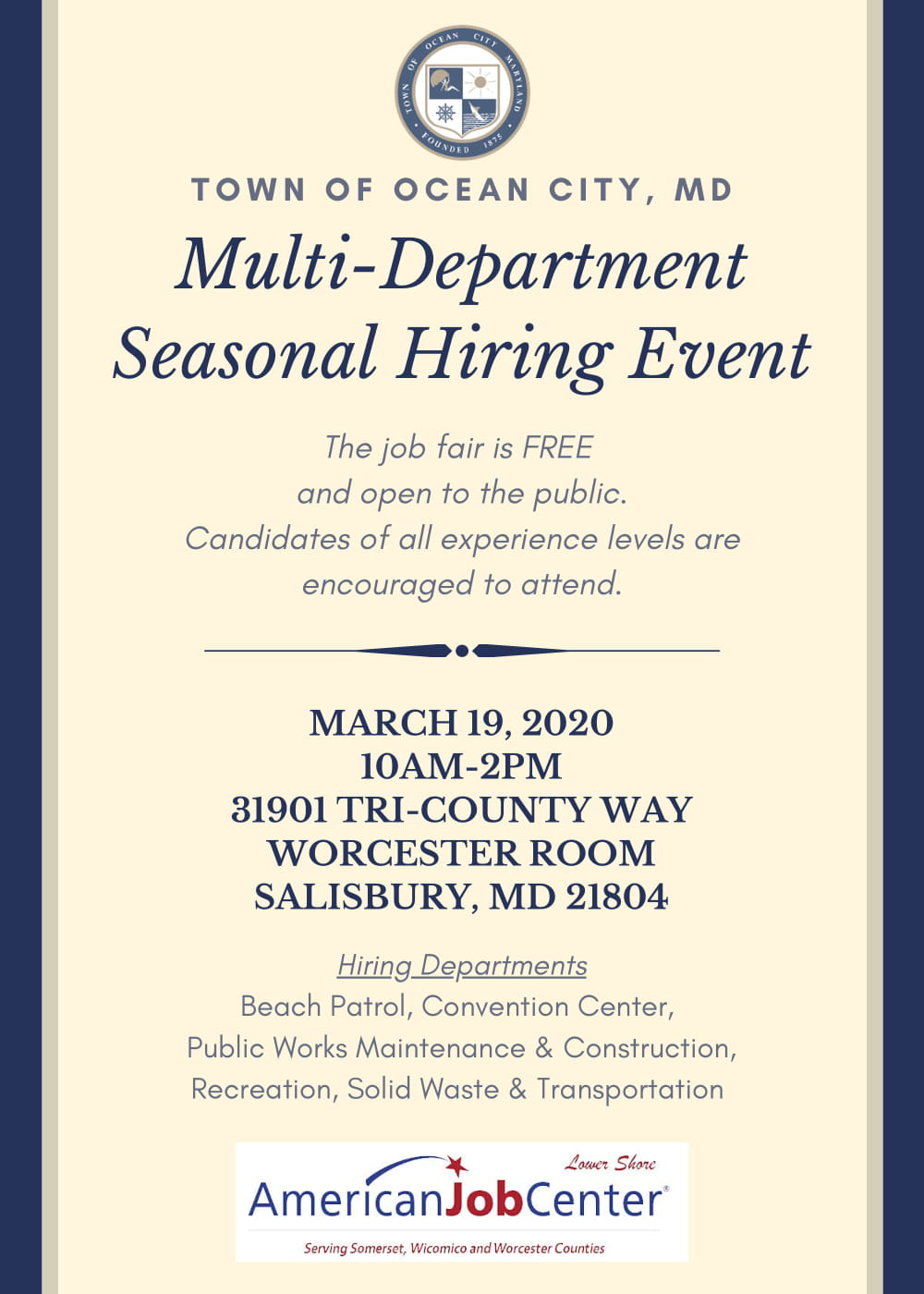 ***CANCELED*** Town of Ocean City Seasonal Hiring Event @ 31901 TRI-COUNTY WAY WORCESTER ROOM