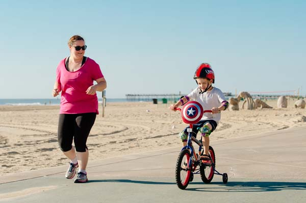 BikingRollerblading-mom-and-son